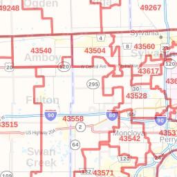 Toledo ZIP Code Map, Ohio